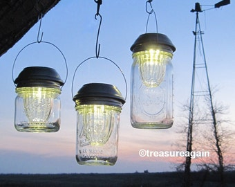 Wide Mason Jar Solar Lids Garden Lanterns 4X Brighter Hanging Mason Jar Solar Lights Outdoor Lights Wide Mouth Ball Jar Solar LIDS, No Jars