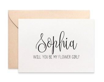 Personalised Flower Girl Card, Flower Girl Proposal, Custom Wedding Card, Black Script, Will you be my Flower Girl Card Bridal Party, WED061