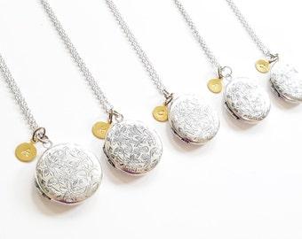 Five Antique Silver Locket Necklace - Personalized Locket - Bridesmaid necklace -Vintage Silver Locket -Bridesmaid Locket -Flowergirl Locket