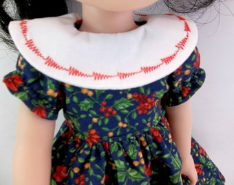"14.5"" Doll Dress Navy with Red Flowers Large White Collar Fits Wellie Wishers and Similar Dolls"