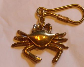 Vintage 1980's Brass Crab keychain