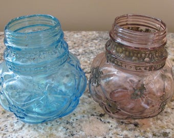2 Antique Glass Sugar Salt Shakers Button Design Pattern
