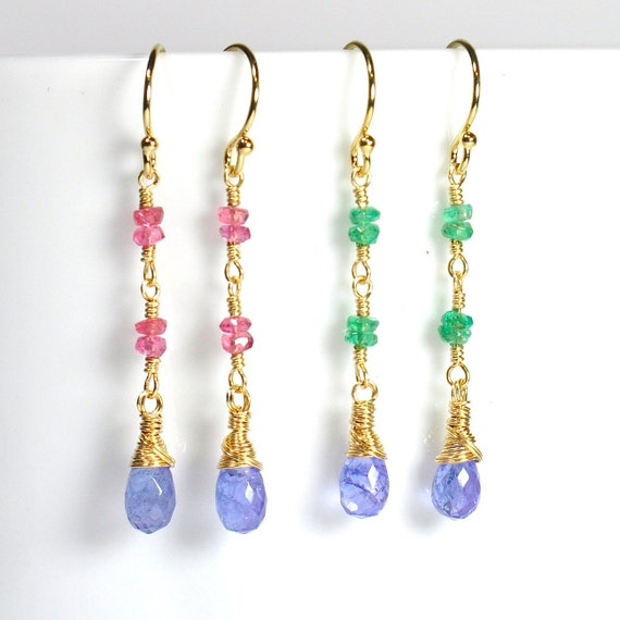 Emerald, Pink Sapphire, Tanzanite earrings in Gold or Silver, Minimalist, Mothers Day Gift,  Tanzanite Gold earrings, Gift For Her