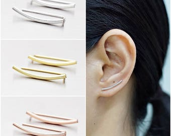 925 Sterling Silver Ear Climbers, Ear Cuff Earrings, Gold Plated, Rose Gold Plated Earrings, Bar Earrings, Earrings Pins (Code : ED128)