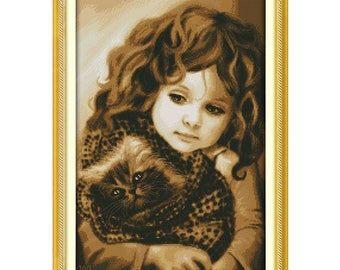 Girl and Cat Patterns Counted Cross Stitch 11CT Printed 14CT Cross Stitch Kits for Embroidery Needlework Crafts