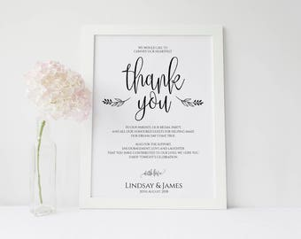 Personalised Thank you A3 Wedding Poster in white, ivory or kraft brown -Unbacked or Backed (unframed) -FREE UK postage