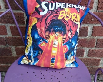 Superman DC comic book 16 Pillow Cushion Cover Upcycled Tshirts Eco