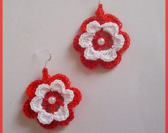 Red and white double flower with Pearl crochet earrings