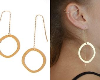 Threader earrings, Hoops, Chain earrings, Thread earrings, Circle earrings, Round earrings, Threader earrings gold, Long earrings