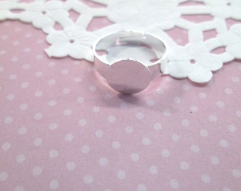 10mm Adjustable Ring Blanks, Silver Plated, Pick Your Amount, A78