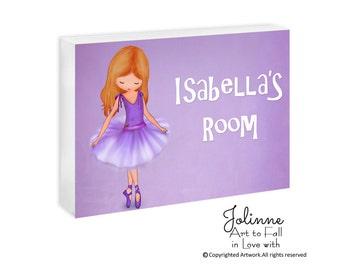 Ballerina door plaque, personalized kids door sign, personalized door sign, personalized girls, ballet dancer room decor, nursery art,plaque