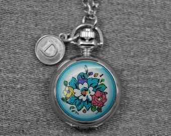 Flower Pocket Watch Silver Round Floral Locket Watch Fob Womens' Pocket Watch Pendant 28mm  -Mirror Inside, for Gifts