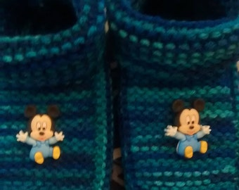 Blue mickey slippers