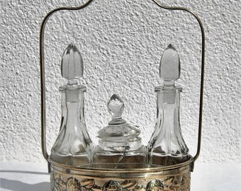 Oil & vinegar set silver plated art nouveau