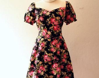Happily Ever After - Floral Sundress Doll Sleeve Dress Vintage Floral Dress Floral Bridesmaid Dress Prom Dress Tea Party Dress Sweetheart