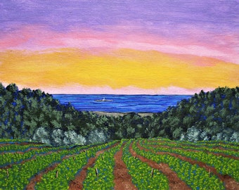 """Vineyard near La Seyne-sur-Mur, France (ORIGINAL ACRYLIC PAINTING) 8"""" x 10"""" by Mike Kraus - art french landscape winery travel mother's day"""