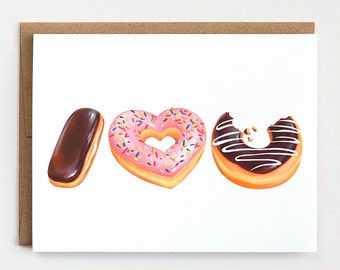 Donut Love Card - I Love You Card, Valentines Day Card, Foodie Gift, Doughnut Card, Greeting Card, Donut Love