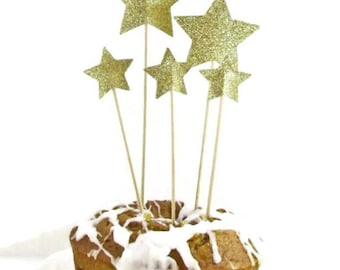 Gold Glitter Stars Cake Toppers, Rose Gold Glitter Stars, Red Glitter Stars, Silver Glitter Stars, Set of 5, Birthday Party Cake Decorations