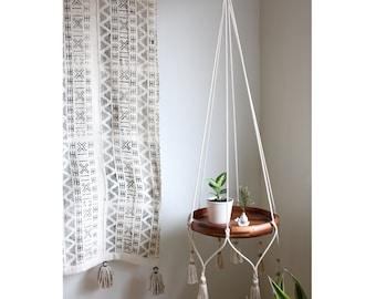 Cotton Hanging Table Holder, Boho Hanging Planter, Macrame Plant Hanger, Hanging Shelf, Boho Decor, Alternative Bar Cart, ROPE FRAME ONLY