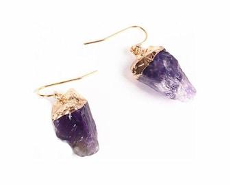 Raw Cut Amethyst Stone Earrings