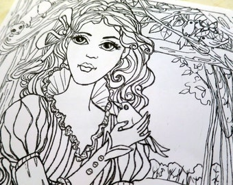 Two fairy tale themed coloring pages