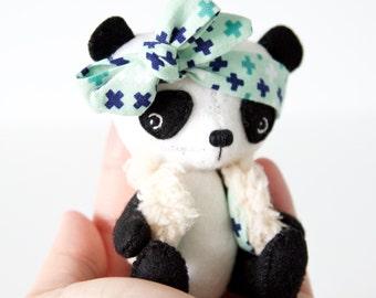 Reserved for Daina- Miniature panda, Eco friendly toy, Environmentally friendly panda doll, Stuffed animal panda