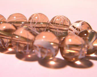 20 glass beads wire - 8 mm-camel - Pearl glass round G18 5