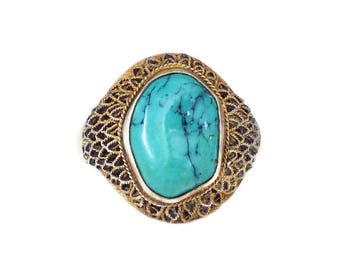 Chinese Turquoise Silver Vermeil Filigree Ring - Chinese Export, Gold Plated, Turquoise Stone, Vintage Ring, Size 7.5 Adjustable