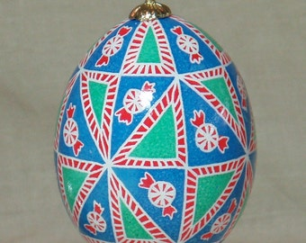 Candy Cane Sweet Triangles!  Red, white, green, and blue hanging pysanka ornament in batik style inspired by starlight mints and candy canes