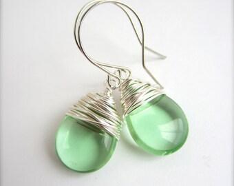 Peridot Earrings August Birthstone Green Earrings Peridot Jewelry Wire Wrapped Jewelry Handmade Bridesmaid Wedding