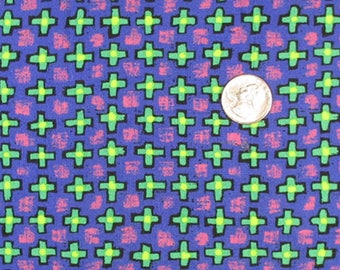Fabric - 2 Yards - Abstract Crosses on Blue - Quiltsy Destash Party
