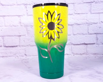 Sunflower Tumbler - Sunflower Yeti, Flower Ozark Trail - Custom Colored Yeti - Free Personalization - Powder Coated Tumbler -