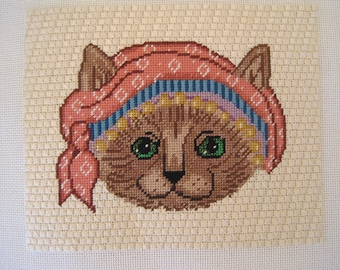 Vintage Needlepoint Cat in a Hat Pink Teal Lavender Blue Yellow Green Eyed Cat