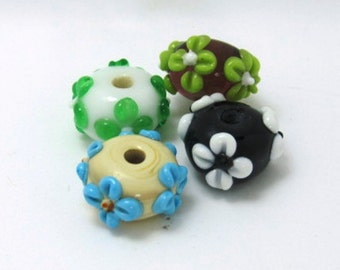Floral Four Assortment - Set of Four Floral Lampwork Roundelle Beads