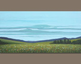 FREE SHIP landscape painting, impressionist painting, east coast fields, green field painting, nova scotia, modern art, sagemountainstudio