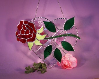 Stained Glass Suncatcher Heart with Rose   (864)