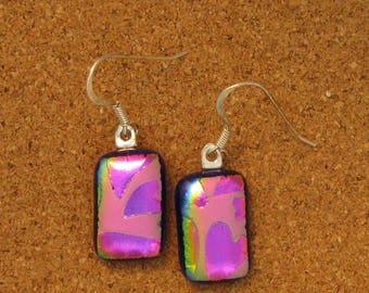 Dichroic Heart Earrings - Fused Glass Earrings - Valentine Earrings - Dichroic Jewelry - Fused Glass Jewelry - Dichroic Heart Jewelry
