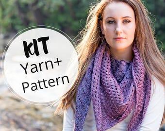 Knit Shawl kit, Yarn kit, knitting kit, hand dyed yarn,  yarn kit, Superwash Merino, purple Yarn, shawl pattern, knit pattern, purple shawl