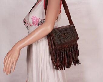 Vintage 60's leather bag with fringe, Brown leather fringe bag, Brown shoulder bag, Genuine leather shoulder bag, Boho, Hippie bag 1960's