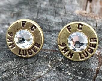 9mm Stud Earrings - Brass Bullet Casings