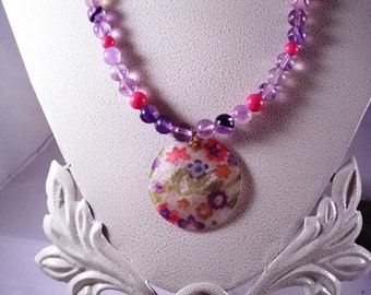 Purple and Pink Capiz Shell Necklace