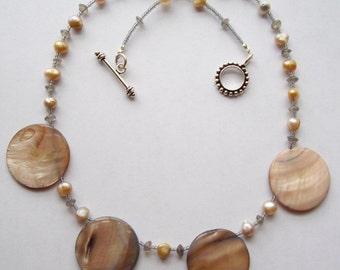 Cream Pearl Vintage Pearl Stone Labordorite Elegant Necklace One of a Kind
