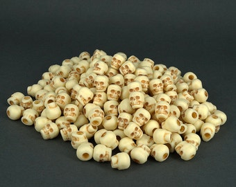 200 Plastic Natural Antiqued Skull Pony Beads 10mm - Goth, Day of The Dead, Halloween, Paracord