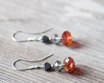 Cute Dangle Earrings Crystal Earrings Swarovski Earrings Autumn Jewelry Heart Earrings Gift for Her Birthday Gift for Friend Fall Earrings
