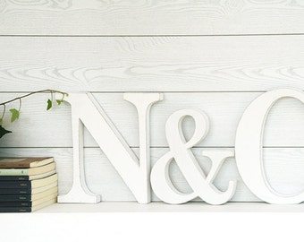 Initials in SHABBY style wood with &