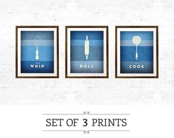 Blue kitchen print. Set of 3 PRINTS. Kitchen prints Blue kitchen poster Set of kitchen prints kitchen decor kitchen wall art kitchen art