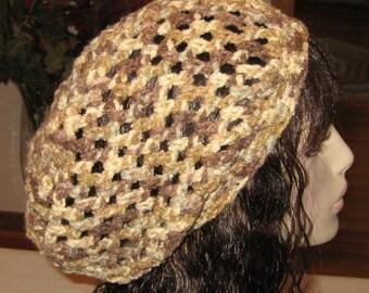 Slouchy Beanie Open Stitch Snood Dread Tam Hat