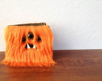 Orange Monster Wallet- Three Green Eyes