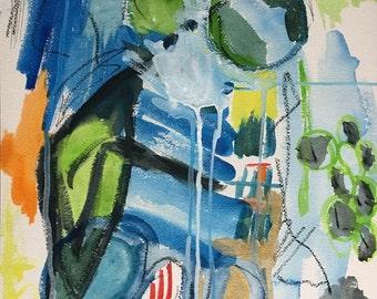 watercolor abstract landscape 12 x 16 original contemporary art