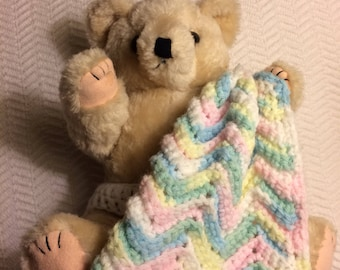 Vintage Stuffed Bear with Crochet Security Blanket and Diaper
